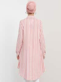 Ecru - Dusty Rose - Stripe - Point Collar - Viscose - Tunic