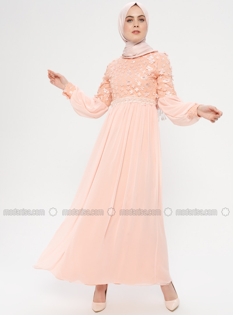Salmon - Floral - Fully Lined - Crew neck - Muslim Evening Dress