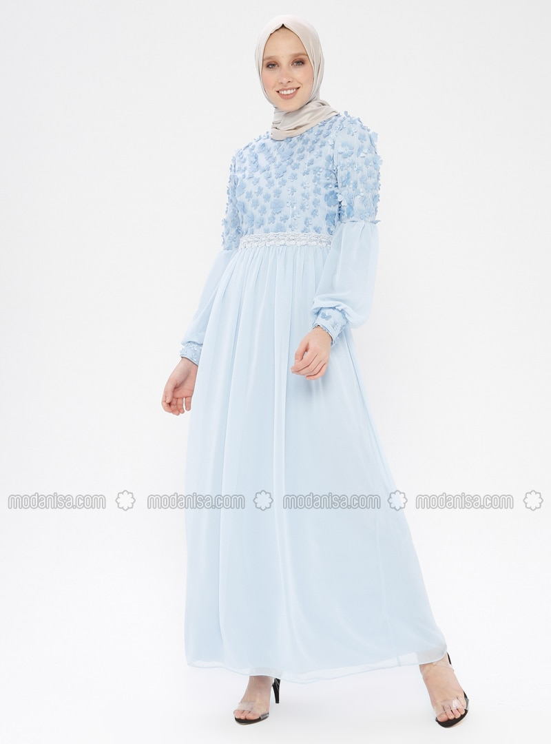Blue - Floral - Fully Lined - Crew neck - Muslim Evening Dress