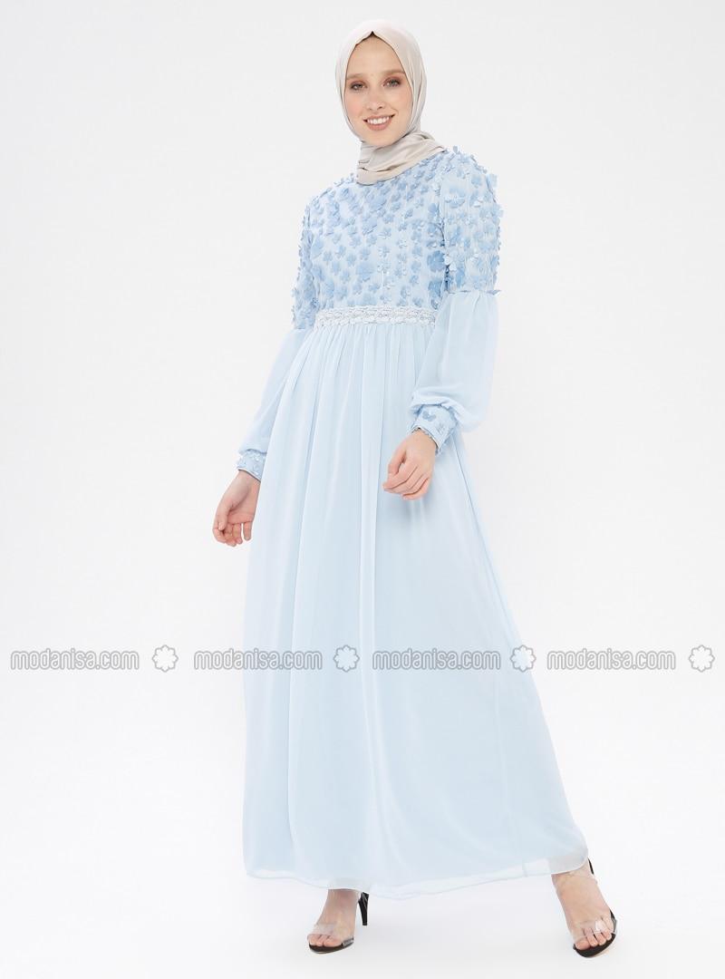 c65434d181068 3 Boyutlu Abiye Elbise - Mavi