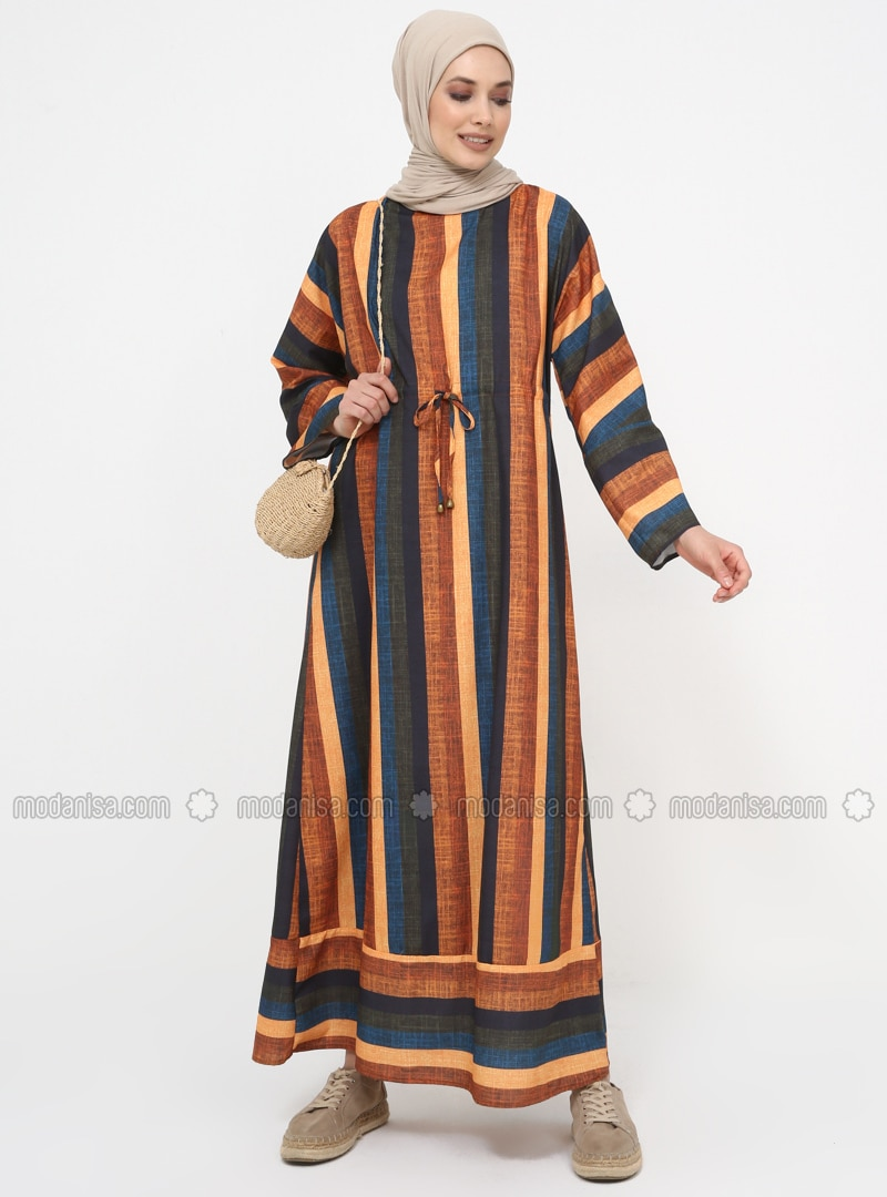 Orange - Stripe - Crew neck - Unlined - Dress