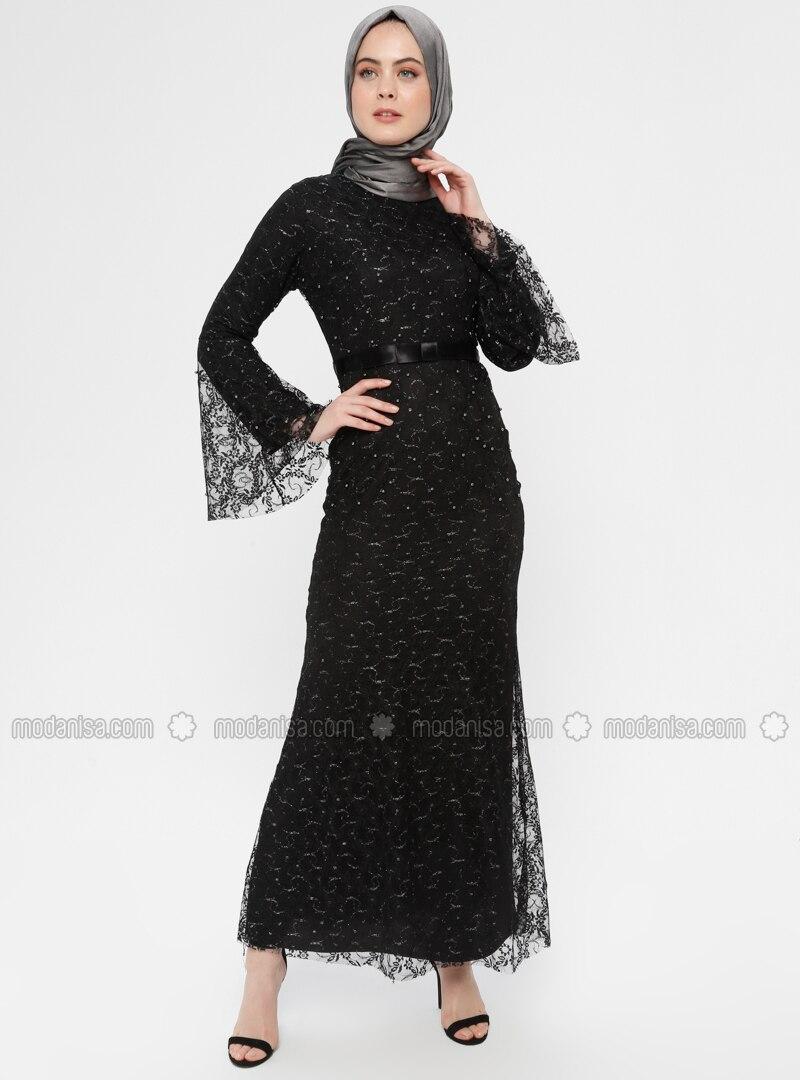 18248f0bf8d54 Dantel Abiye Elbise - Siyah