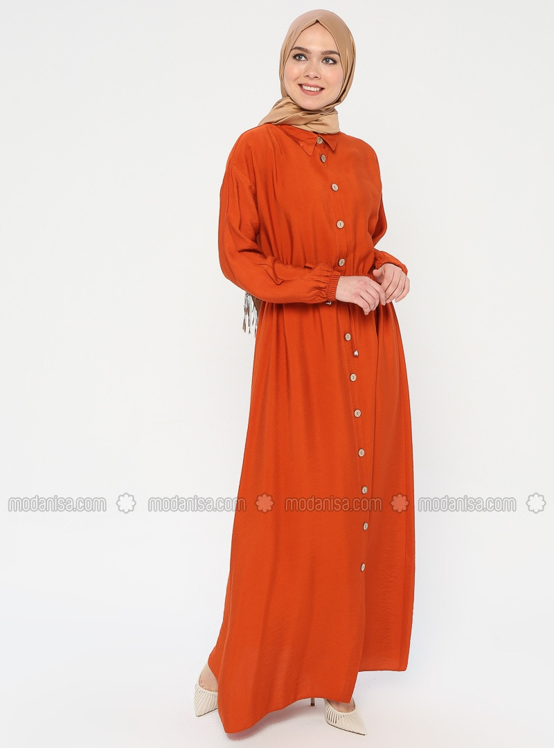 Orange - Point Collar - Unlined - Dress