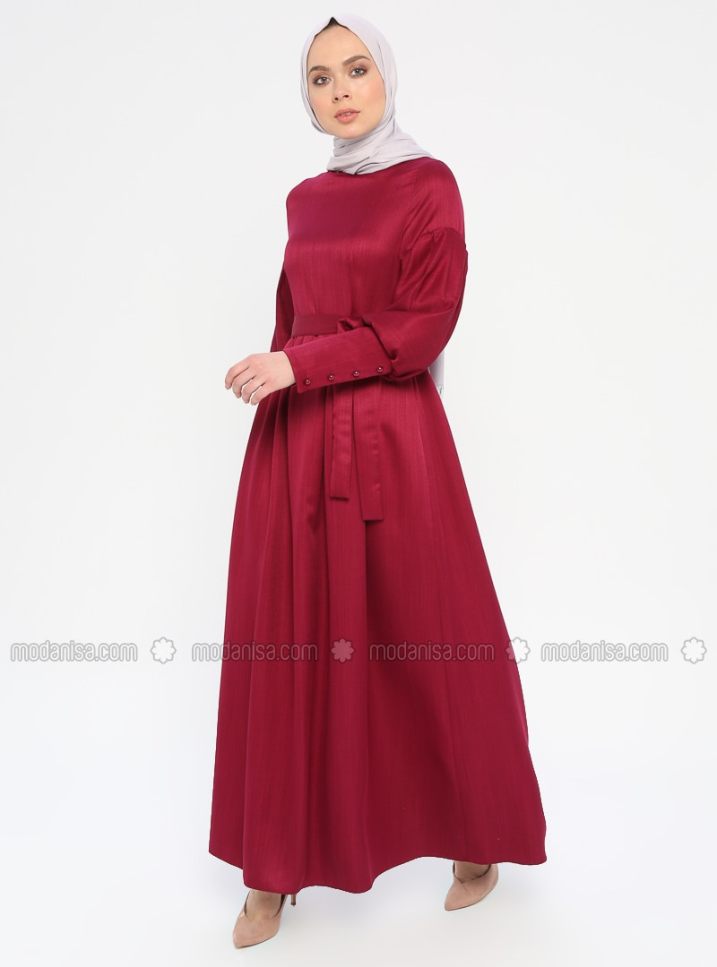 Fuchsia - Crew neck - Unlined - Dress