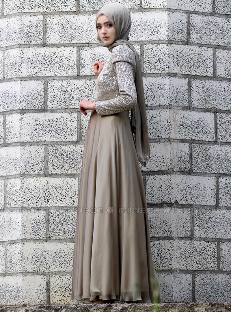 Khaki - Fully Lined - Crew neck - Chiffon - Muslim Evening Dress