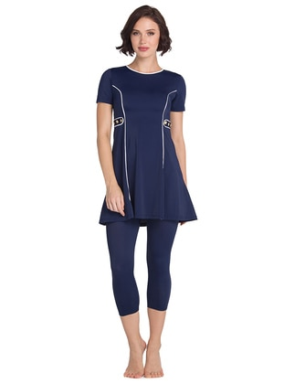 Navy Blue - Half Covered Switsuits - DAGİ