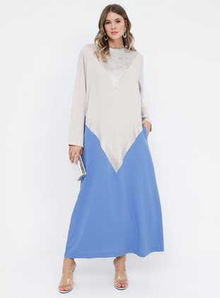 Blue - Beige - Unlined - Crew neck - Muslim Plus Size Evening Dress