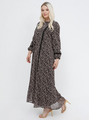 Brown - Leopard - Crew neck - Plus Size Dress