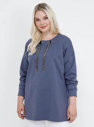 Lilac - Crew neck - Cotton - Plus Size Tunic