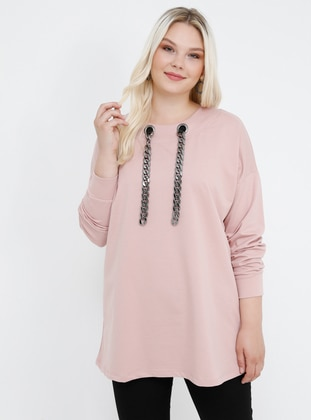 Powder - Crew neck - Cotton - Plus Size Tunic - Alia