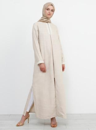 White - Ecru - Unlined - Crew neck - Cotton - Topcoat