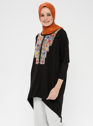 Black - Ethnic - Crew neck - Viscose - Tunic