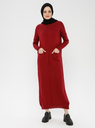 Maroon - Crew neck - Unlined - Cotton - Acrylic -  - Dress