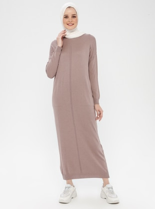 Dusty Rose - Crew neck - Unlined - Cotton - Acrylic -  - Dress