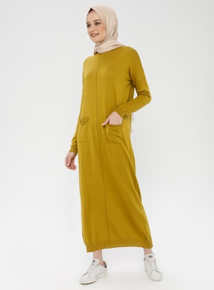 Olive Green - Crew neck - Unlined - Cotton - Acrylic -  - Dress