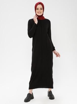 Black - Crew neck - Unlined - Cotton - Acrylic -  - Dress