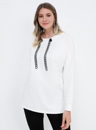 White - Ecru - Crew neck - Cotton - Plus Size Blouse