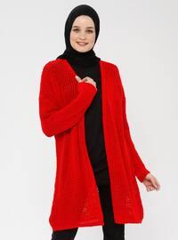 Red - Shawl Collar - Acrylic - Cardigan