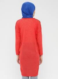 Red - Multi - V neck Collar - Cardigan