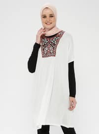 Ecru - Ethnic - Crew neck - Viscose - Tunic