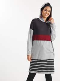 Gray - Stripe - Crew neck - Cotton - Viscose - Tunic
