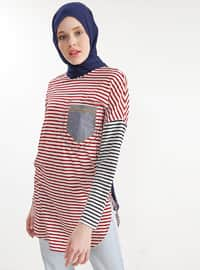 Red - White - Stripe - Crew neck - Cotton - Tunic