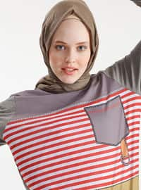 Red - Gray - Stripe - Crew neck - Cotton - Tunic
