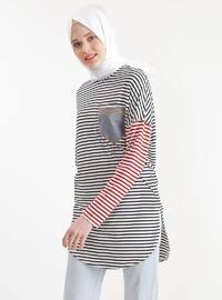 Blue - White - Stripe - Crew neck - Cotton - Tunic