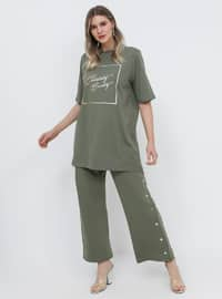 Khaki - Crew neck - Cotton - Plus Size Tunic