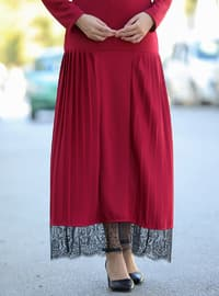 Maroon - Crew neck - Unlined - Cotton - Acrylic - Dress