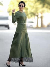 Khaki - Crew neck - Unlined - Cotton - Acrylic - Dress