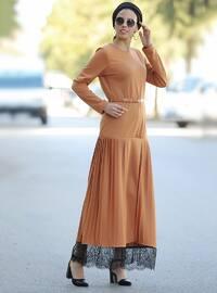 Terra Cotta - Crew neck - Unlined - Cotton - Acrylic - Dress