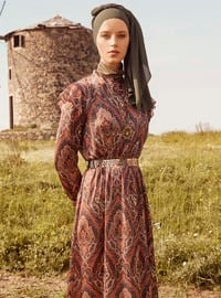 Tan - Multi - Crew neck - Unlined - Dress