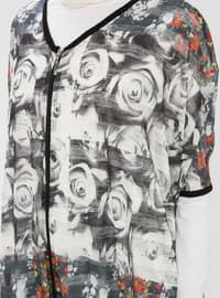 Ecru - Floral - V neck Collar - Cardigan