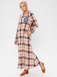Orange - Checkered - Crew neck - Unlined - Cotton - Linen - Dress