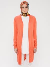Orange - Shawl Collar - Cotton - Acrylic -  - Cardigan