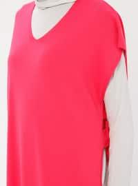 Fuchsia - V neck Collar - Acrylic -  - Cardigan