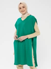 Green - V neck Collar - Acrylic -  - Cardigan