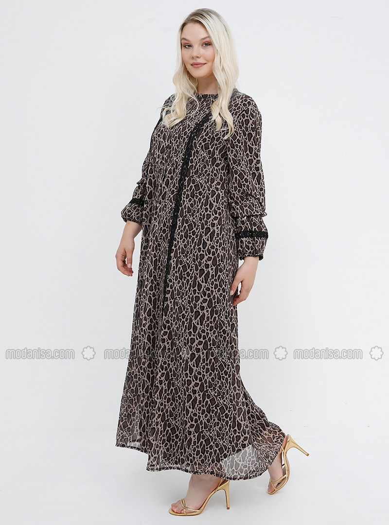Brown - Leopard - Crew neck - Plus Size Dress