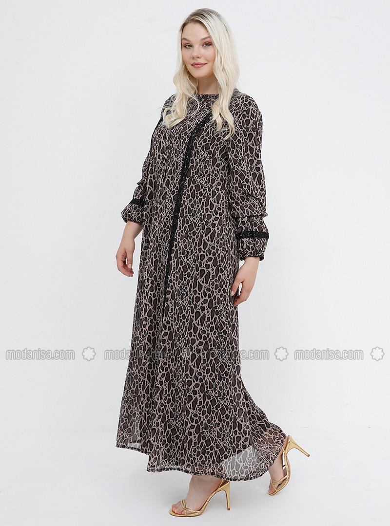 4a32025daa2f2 Leopar Desenli Şifon Elbise - Kahverengi