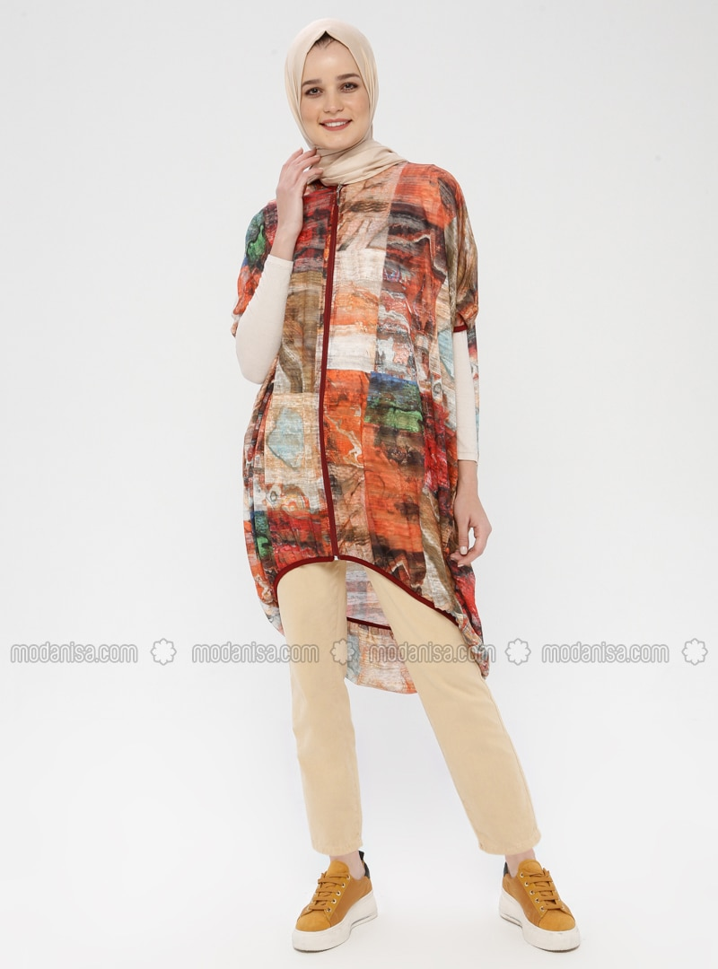 Ecru - Multi - V neck Collar - Cardigan