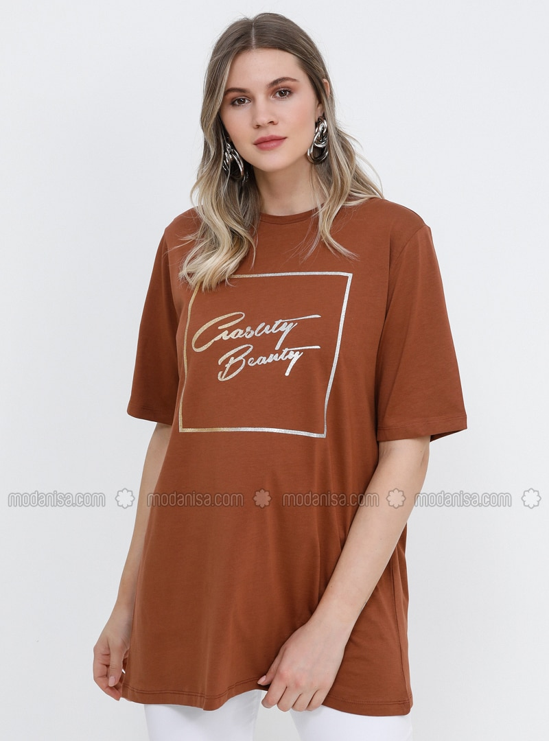 Tan -  - Crew neck - Cotton - Plus Size Tunic