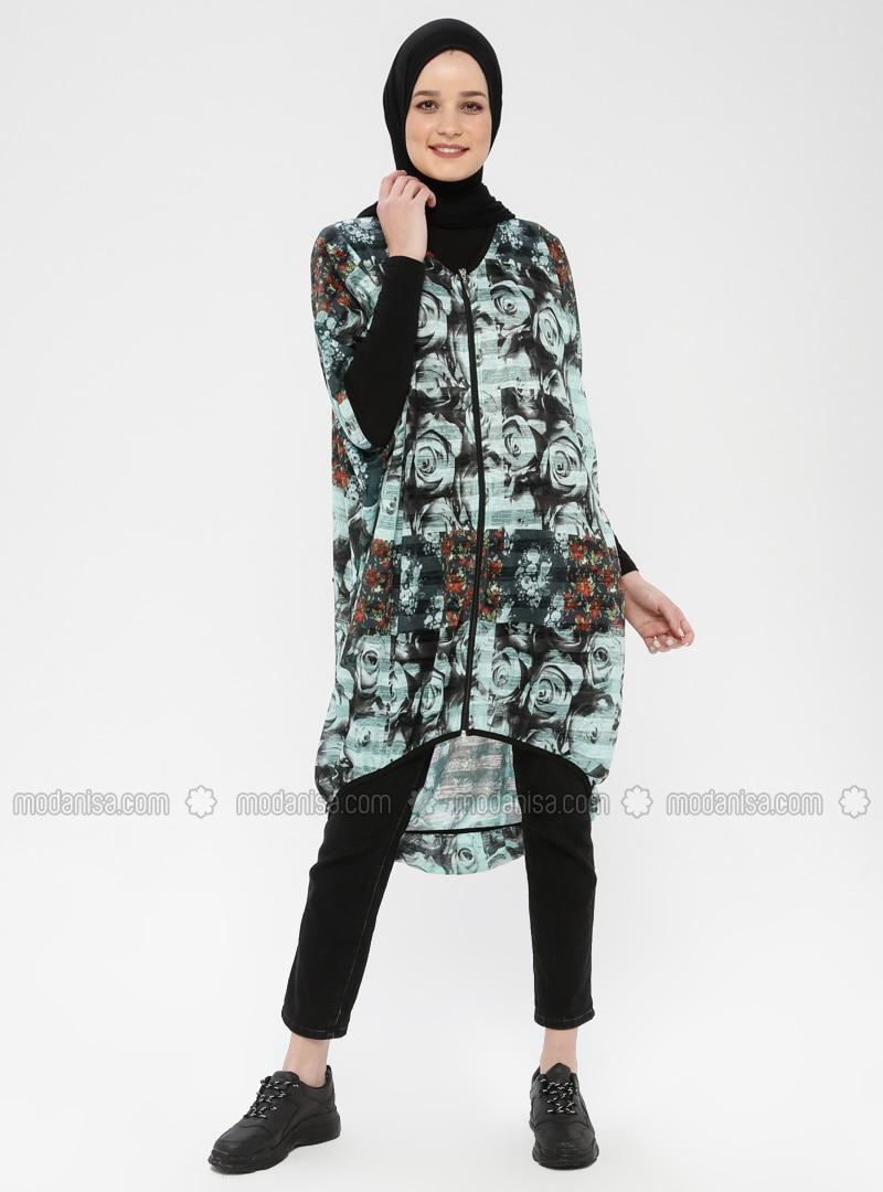 Mint - Floral - V neck Collar - Cardigan