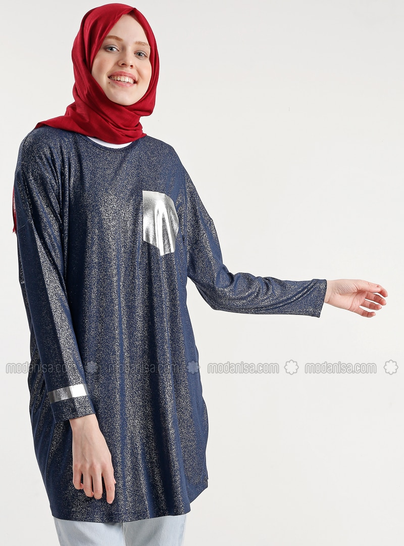Navy Blue - Crew neck - Cotton - Tunic