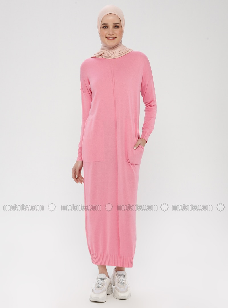 Pink - Crew neck - Unlined - Cotton - Acrylic -  - Dress
