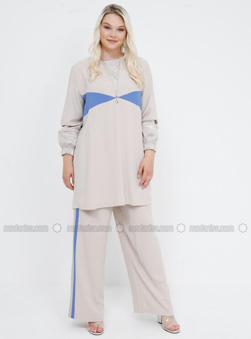 Blue - Beige - Crew neck - Unlined - Plus Size Evening Suit