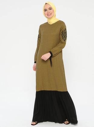 Mustard - Checkered - Crew neck - Unlined - Dress