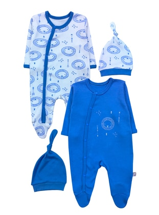 Multi - Crew neck - Cotton - Unlined - Blue - Baby Suit - BY LEYAL