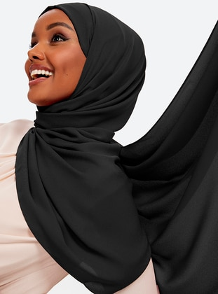 Aden Crepe Shawl - Black