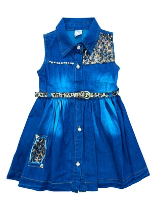 Leopard - Point Collar - Cotton - Denim - Unlined - Navy Blue - Baby Dress